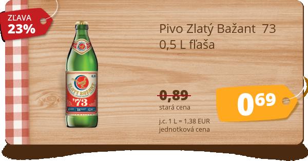 Pivo Zlatý Bažant  73  0,5 L fľaša