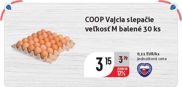 COOP Vajcia slepačie veľkosť M balené 30 ks