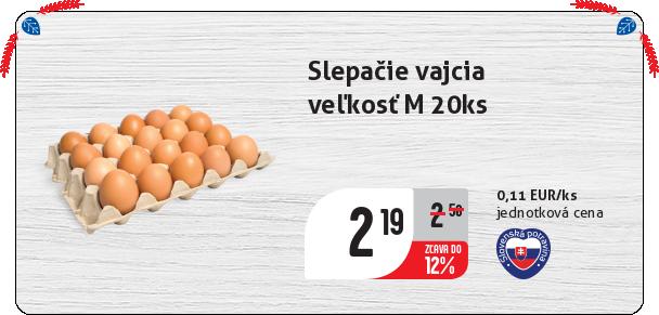Slepačie vajcia  veľkosť M 20ks
