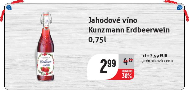 Jahodové víno  Kunzmann Erdbeerwein  0,75l