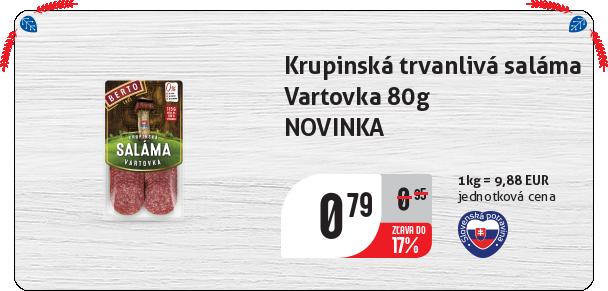 Krupinská trvanlivá saláma  Vartovka 80g NOVINKA