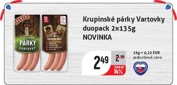 Krupinské párky Vartovky  duopack 2x135g NOVINKA